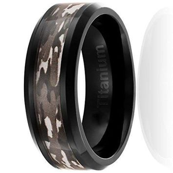CERTIFIED 8MM Titanium Camo Wedding Band Black Plated Ring with Brown Military Camouflage Inlay