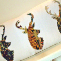 Large Bolster French Antique Linen Trio of Stags Handcut in Vintage Needlepoint  Cushion Pillow Cover