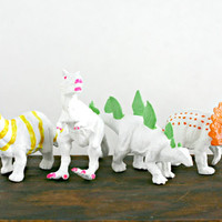 Small Dino Painted Set - Birthday Party Dinosaur Set - Upcycled Painted Dinosaurs - Toy Dinosaurs - Upcycled Kids Toys