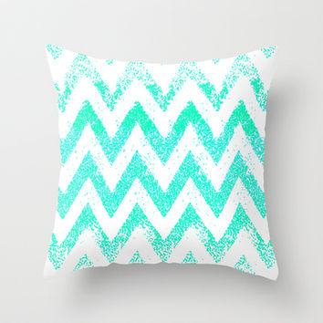 mint chevron Throw Pillow by Marianna Tankelevich