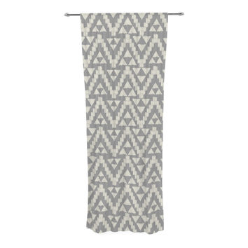 "Amanda Lane ""Geo Tribal Gray"" Grey Tribal Decorative Sheer Curtain"