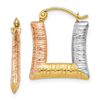 Tri-Color Puffed Square Hoop Earrings in 14k Yellow Gold and Rhodium