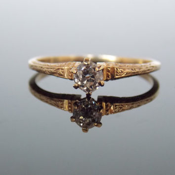 Rose Gold Old Mine Miners Cut Simple Solitaire Engagement Ring Engraved Antique Estate Victorian RGDI2005N