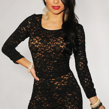 Plus Size Black Lace Nude Illusion Knotted Cut-out Back Romper