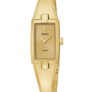 Seiko Solar Ladies Bangle Watch - Gold-Tone Dial and Bracelet - 30 Meters
