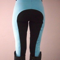 Jodhpurs Riding Breeches/ Baby Blue Black Seat | Equimate