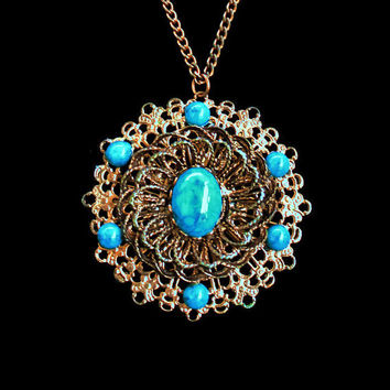 Vintage Turquoise and Brass Medallion Necklace, Boho Jewelry