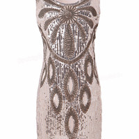 PrettyGuide Women 20s Art Deco Gatsby Sequin Beaded Maxi Flower Charleston Party Dress Flapper Costume