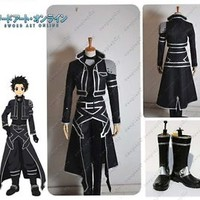 Sword Art Online ALO Kirito Kazuto Kirigaya Cosplay Costume+Shoes Full Set