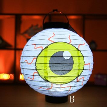 LED Paper Lantern Pumpkin Light Paper Hanging Light Halloween Party Decoration Hot Sale High Quality 2018 New Patterns Novel
