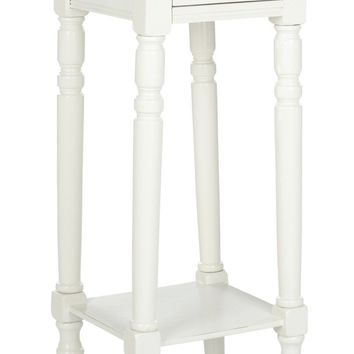 Sabrina End Table With Storage Drawer Distressed Cream