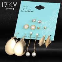 17KM Vintage Simulated Pearl Statement Earring Crystal Triangel Shape Stud Earrings For Women 6 Pair/Set Water Drop Jewelry