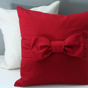 christmas red bow pillow cover oversize scarlet red bow accent - Christmas Decorative Pillow Covers