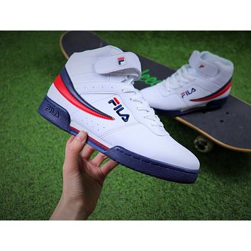 Sale Fila F-13V Retro Mid White Blue Red Men Sneaker 1VF80006161