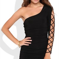 One Shoulder Bodycon Dress with Lattice Sleeve