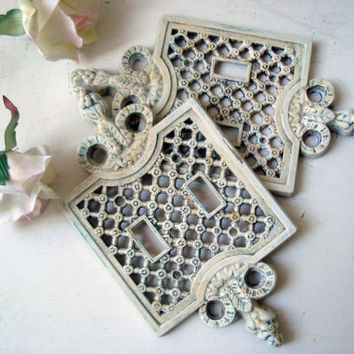 Antique White Double Light Switch Covers, Pair of Vintage Metal Ornate Light Switch Covers, Shabby Chic, Patina Light Switch Plates