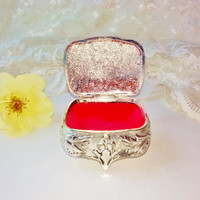 New Antiqued Silver Jewelry Casket Ring Box Vintage NIB Red Velvet Lined Scroll Design Gothic Collectible Boudoir Decorative Hinged Trinket