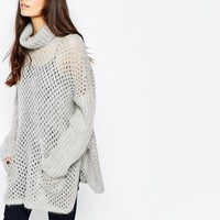 Reiss Fanella Roll Neck Cape Knit Jumper