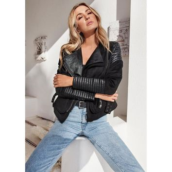 Women Simple Fashion Lapel Long Sleeve Cardigan Artificial Leather Stitching Punk Motorcycle Jacket Irregular Coat