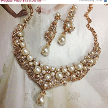 bridal jewelry, Bridal bib necklace earrings , pearl rhinestone ribbon bridal necklace, Golden bridal crystal necklace,wedding jewelry