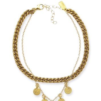 Roman Coin Empire Anklet Chain-  18k Gold