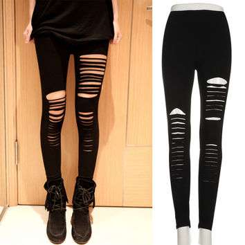 Fashion summer style Ladies Female Ripped Hole Punk Cut-out Gothic pants Tights Women Sexy Skinny Trousers Black