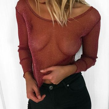 Lace Long Sleeve Tops Hot Sale Sexy Winter T-shirts [212213792794]