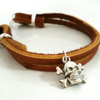 Leather Charm Bracelet, Unisex Jewelry, Silver Plate Wire Wrapped, Skull Charm, 7 inch, Multi Layered Brown Cuff,