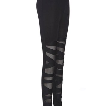 Women Bandage Cross Strap Black Legging