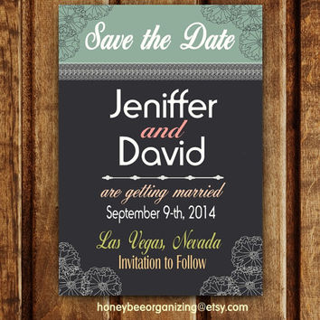 Save the Date Wedding Invitation - Custom Printable PDF Invitation - Custom Save the Date - DIY Wedding Invitation