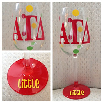 Alpha Gamma Delta, AGD, Sorority Glass, Custom Sorority, Personalized Sorority Wine Glass.