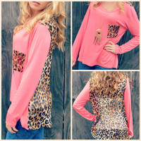 Kersey Coral Leopard Back Top