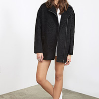 FOREVER 21 Oversized Boucle Moto Jacket Black
