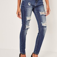 Missguided - Blue Anarchy Authentic Ripped Skinny Jeans