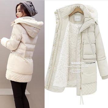 Women Winter Plus Size 3XL Hooded Solid Color Lambswool Thick Padded Jackets Warm Mid Length Coats Parkas Veste Femme MZ1911