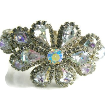 Beautiful Sparkling Ice And Borealis Rhinestone Clamper Bracelet