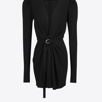 Black Gathered V-Neck Mini Dress