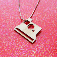 Wood Polariod Camera Necklace - Photographers & Travelers - Photography - Laser Cut Cameras - Lovely Light Weight Camera Necklace