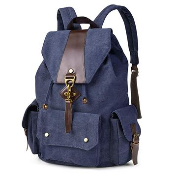 Vbiger Vintage Canvas Backpack Casual Shoulder Bag Large Capacity Rucksack for Men and Women