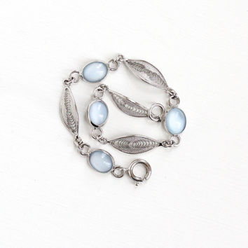 Vintage Sterling Silver Simulated Moonstone Bracelet - Retro 1950s Light Blue Glass Cabochon Filigree Cannetille Panel Link Jewelry