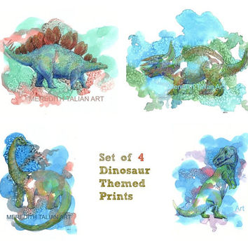 Dinosaur Print Set of 4 watercolors for Kids T Rex Triceratops Blue Green original paintings for him dino art theme nursery decor playroom