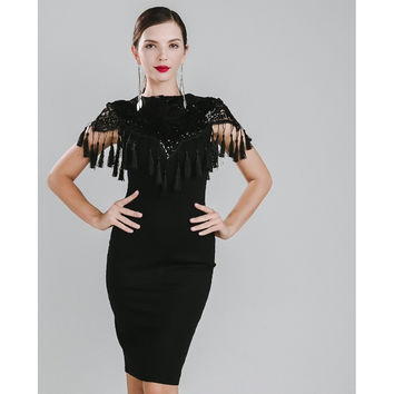 Black Fringe Tassel Cocktail Dress