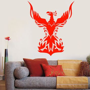 Vinyl Wall Decal Phoenix Fantastic Bird Forks Of Flame Stickers (2318ig)
