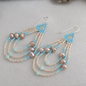 Ocean Blue and Blush Hand-Woven Delica Seed Bead Dangle Earrings with Swarovski Crystals and Freshwater Pearls
