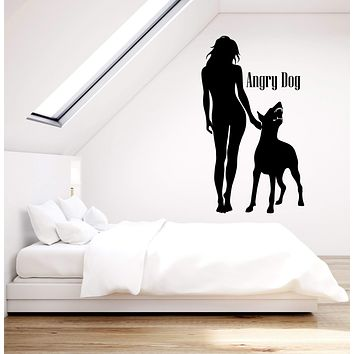 Vinyl Wall Decal Girl With Angry Dog Pet Dobermann Home Interior Stickers (2881ig)