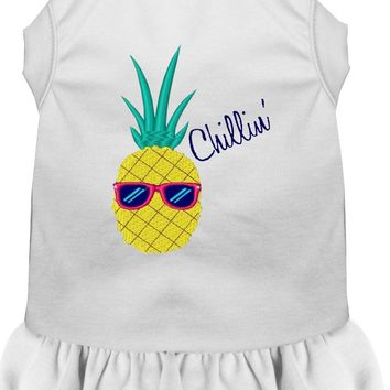 Pineapple Chillin Embroidered Dog Dress White 4x (22)