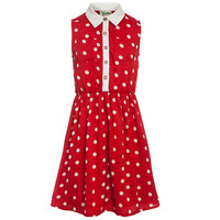 Buy Yumi Girl Spot Shirt Dress, Red online at John Lewis