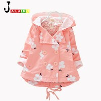 2016 NEW Girls Coat Jacket  Spring Autumn Girls Double Breasted Cardigan Infant baby kids Lace Coat Children Outwear Coats
