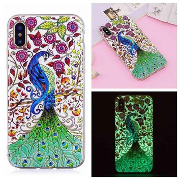 CIDI For iPhone X Luminous Case Soft TPU IMD Cover Glow In Dark 3D Painted Protective Mobile Phone Shell for iPhone X