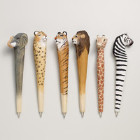 Wood Carved Animal Pens, Assorted 6-pk - World Market